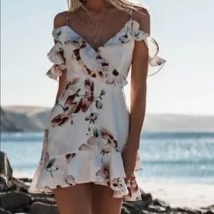 1 left! White Floral Ruffle Off Shoulder Dress